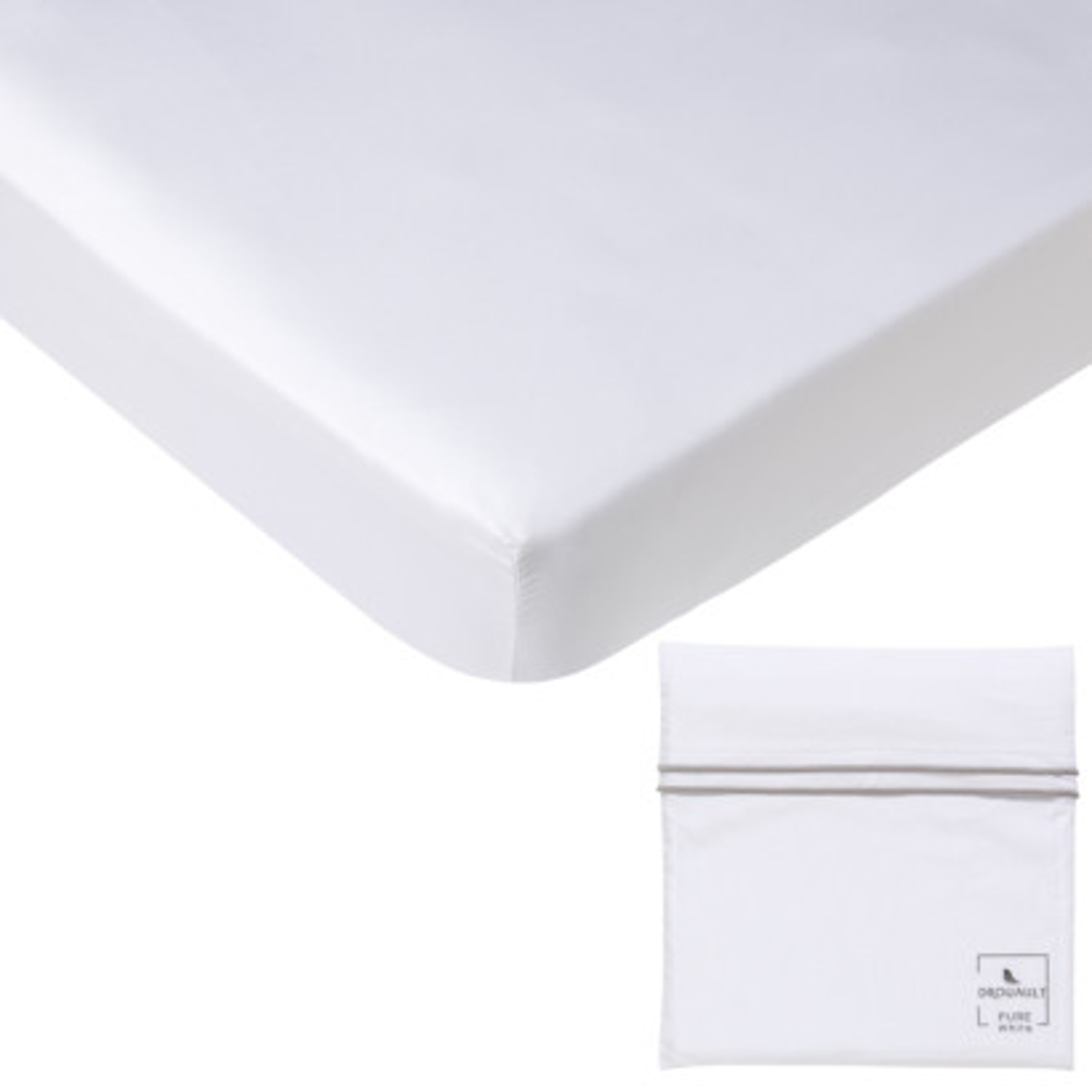 Drap housse PURE WHITE percale lavée blanc - pochette finition grise claire