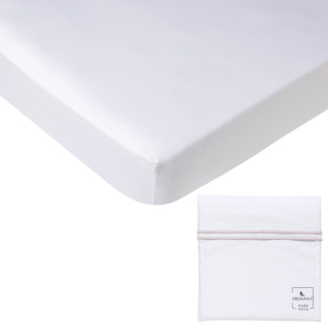 Drap housse PURE WHITE percale lavée blanc - pochette finition blush
