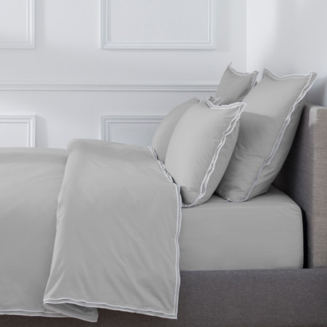Housse de couette PURE WHITE percale lavée light grey - finition white