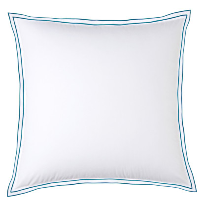 Taie d'oreiller PURE WHITE percale lavée blanc - finition paon