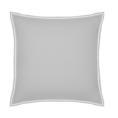 Taie d'oreiller PURE WHITE percale lavée light grey finition white