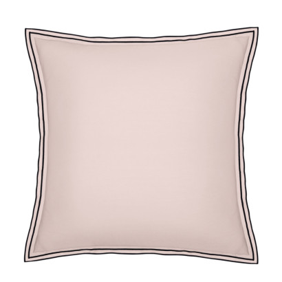 Taie d'oreiller PURE WHITE percale lavée pink - finition black