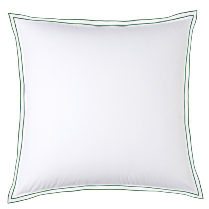 Taie d'oreiller PURE WHITE percale lavée blanc - finition menthe