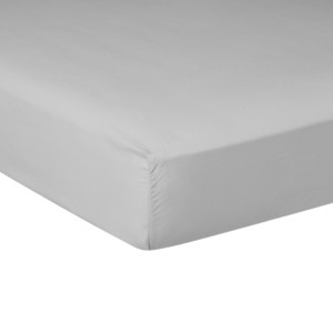 Drap housse PURE WHITE percale lavée light grey