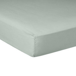 Drap housse PURE WHITE percale lavée light green