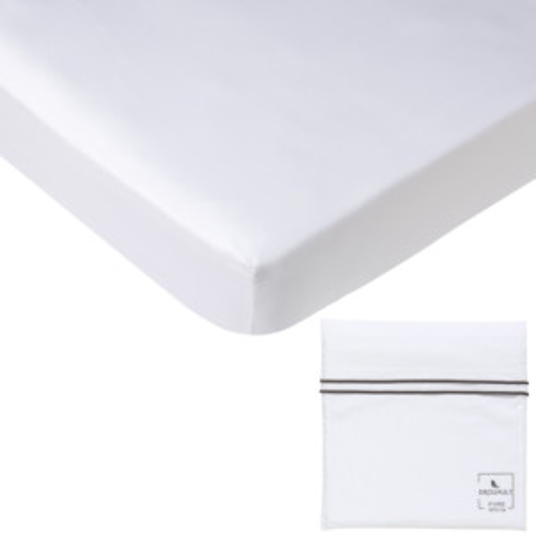Drap housse PURE WHITE percale lavée blanc - pochette finition noire