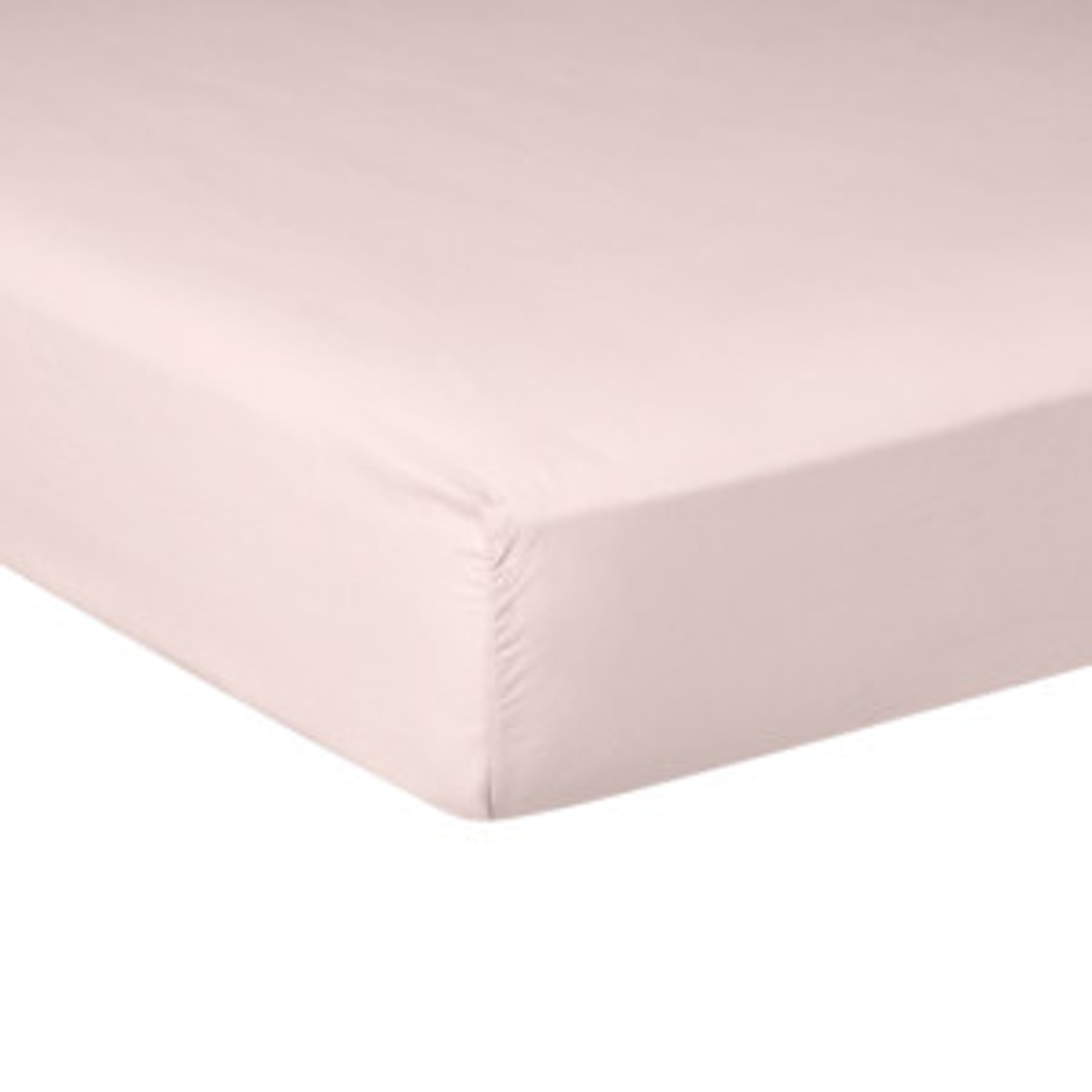 Drap housse PURE WHITE percale lavée pink