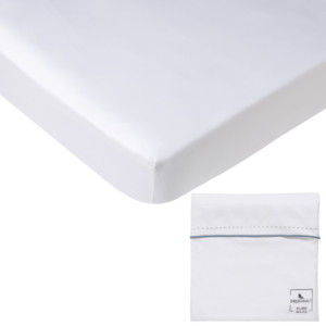 Drap housse PURE WHITE satin lavé blanc - pochette finition denim