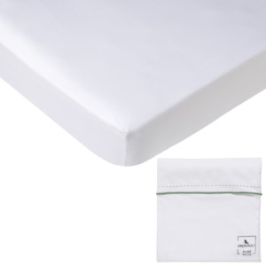 Drap housse PURE WHITE satin lavé blanc - pochette finition fôret