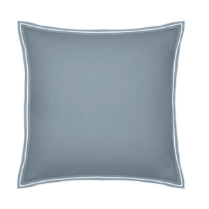 Taie d'oreiller PURE WHITE percale lavée blue - finition white