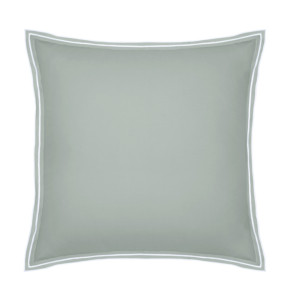 Taie d'oreiller PURE WHITE percale lavée light green finition white