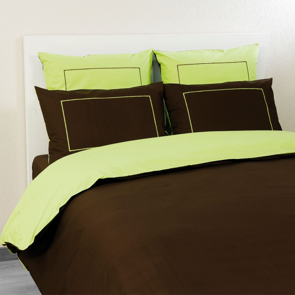housse de couette percale chocolat citron vert drouault. Black Bedroom Furniture Sets. Home Design Ideas